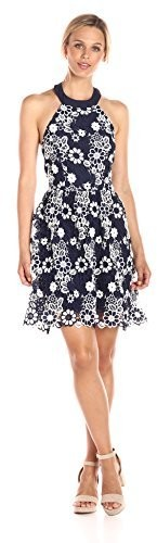 J.o.a. Women's Flower Lace Halter Neck Dress