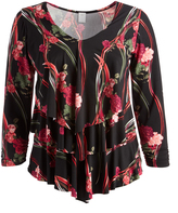 Glam Black & Red Tiered V-Neck Top - Plus