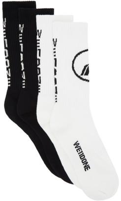 we11done Two-Pack Black Sport Socks