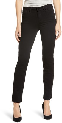 Paige Transcend Cindy High Waist Split Hem Straight Leg Jeans