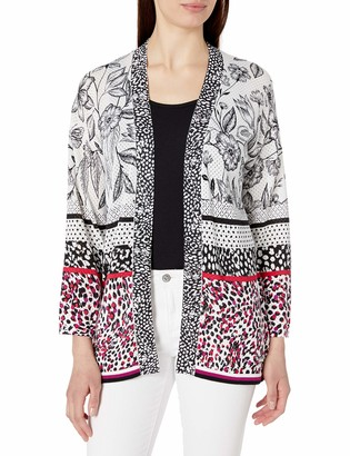 Foxcroft Women's Plus Size Florence Open Front Mixed Print Cardigan
