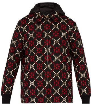 Gucci Gg Hooded Wool Jacket - Mens - Black Red
