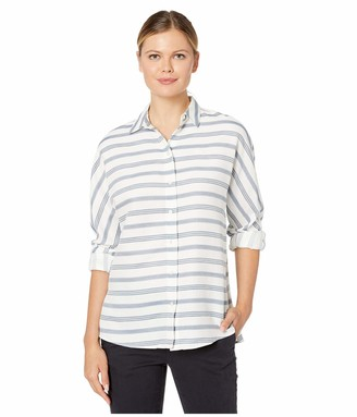 Lacoste Women's Long Sleeve Clean Striped Fluid Cotton Blouse