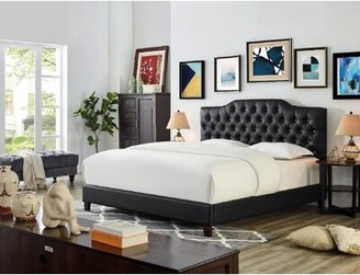 Everly Quinn Leesburg Faux Leather Upholstered Platform Bed Size: California King