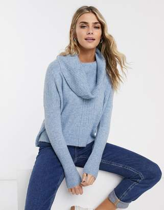 Miss Selfridge jumper with cowl neck in blue
