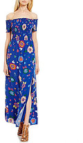GUESS Fredrica Off-The-Shoulder Smocked Floral-Printed Maxi Dress