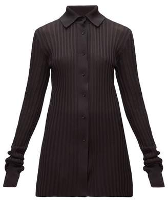 Bottega Veneta Longline Ribbed-knit Cardigan - Womens - Black