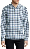 ATM Anthony Thomas Melillo Plaid Flannel Long-Sleeve Sport Shirt, Gray/Blue