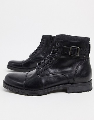 Jack and Jones leather boot with lace up and buckle in black