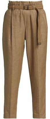 Brunello Cucinelli Linen Pull On Pants With Raffia Belt