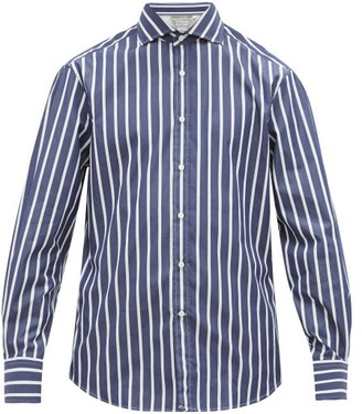 Brunello Cucinelli Slim Fit Striped Cotton Poplin Shirt - Mens - Navy