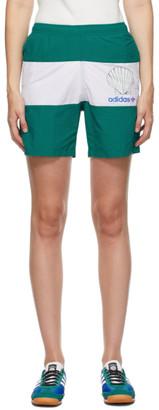 Noah NYC Green and White adidas Edition Stripe Shorts