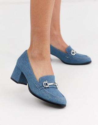 ASOS DESIGN Stirrup mid-heeled loafers in denim
