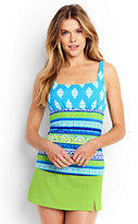 Classic Women's Long Underwire Squareneck Tankini Top-Scuba Blue Foulard Stripe