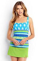 Classic Women's Petite Underwire Squareneck Tankini Top-Scuba Blue Foulard Stripe