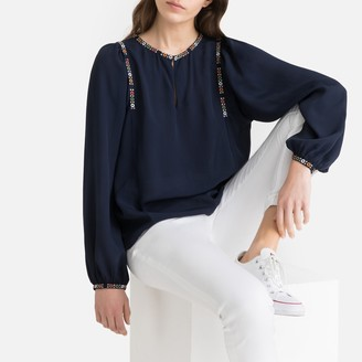 La Redoute Collections Gathered Braided Mandarin Collar Blouse
