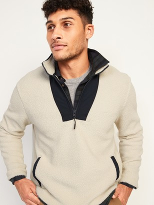 Old Navy Cozy Sherpa Half-Zip Mock-Neck Sweatshirt for Men