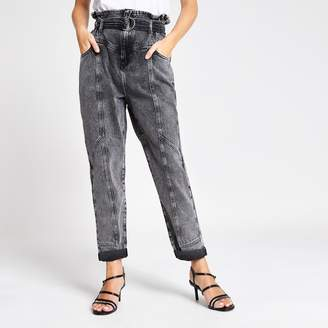 River Island Womens Petite Grey paperbag waist belted jeans