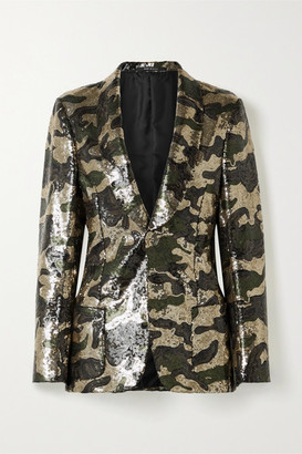 R 13 Sequined Crepe Blazer - Army green