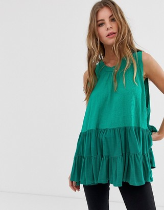 Free People Right On Time pleated vest top-Green
