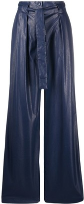 MSGM High-Rise Pleated Faux-Leather Trousers