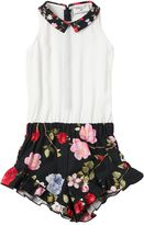 MonnaLisa Floral Cotton Poplin & Crepe Jumpsuit