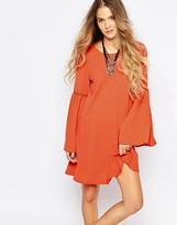 Glamorous A-Line Dress with Bell Sleeve