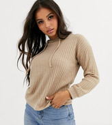 New Look Petite lounge ribbed hoody coord in camel