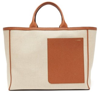 Valextra Shopping Large Canvas And Leather Tote Bag - Beige Multi