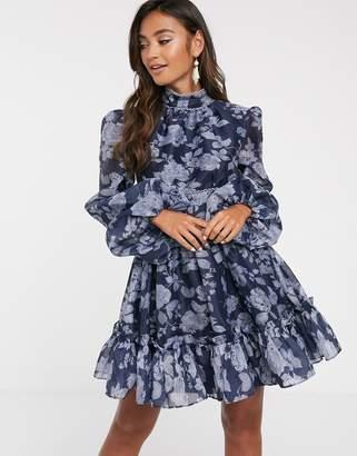 Keepsake halo floral mini dress with volume sleeve-Navy