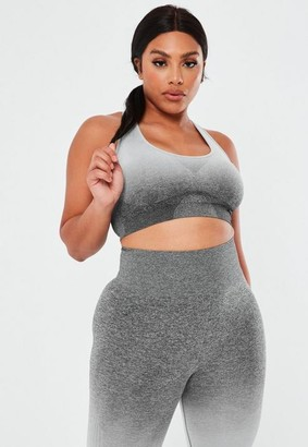 Missguided Plus Size Grey Ombre Co Ord Padded Sports Bra