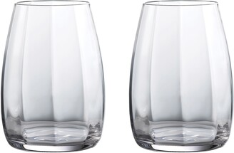 Waterford Elegance Optic Set of 2 Lead Crystal Double Old Fashioned Glasses