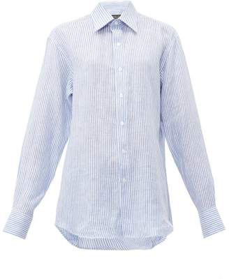 Emma Willis Jermyn Bengal-stripe Linen Shirt - Womens - Blue White