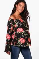 boohoo Maternity Kara Floral Off The Shoulder Printed Top black