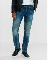 Express skinny leg performance stretch heavy fade moto jeans