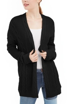 Ultra Flirt Juniors' Cable Knit Open-Front Cardigan