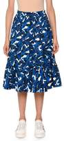 MSGM Palm-Print Pleated Midi Skirt
