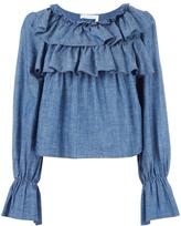 See by Chloe tiered ruffle blouse - women - Cotton/Linen/Flax/Viscose - 36