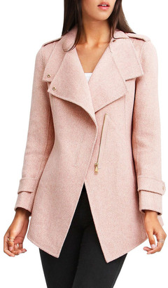 Belle & Bloom Bad Girl Blush Wool Blend Moto Coat