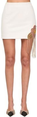 Area Embellished Wool Blend Mini Skirt