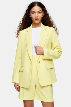 Topshop Womens Yellow Crepe Single Breasted Blazer - Lemon