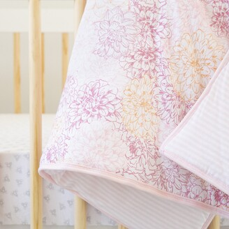 Burt's Bees Peach Floral Reversible Baby Quilt Made with Organic Cotton
