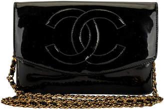 One Kings Lane Vintage Chanel Black Patent Crossbody Bag - Vintage Lux