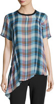 Opening Ceremony Niko Short-Sleeve Plaid Silk Top W/ Ruching