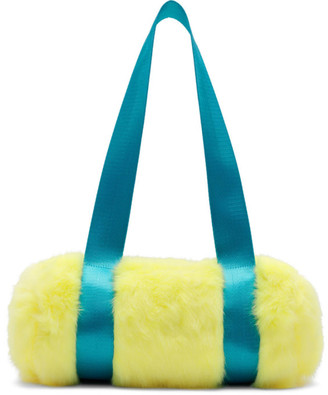 Landlord Yellow and Blue Mini Faux-Fur Duffle Bag