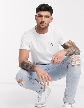 Selected t-shirt with embroidered toucan chest logo