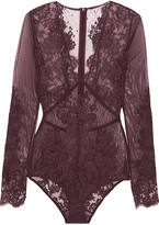 I.D. Sarrieri Chantilly lace and stretch-tulle bodysuit