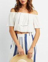 Charlotte Russe Embroidered Off-The-Shoulder Crop Top