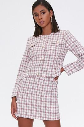 Forever 21 Plaid Blazer Skirt Set