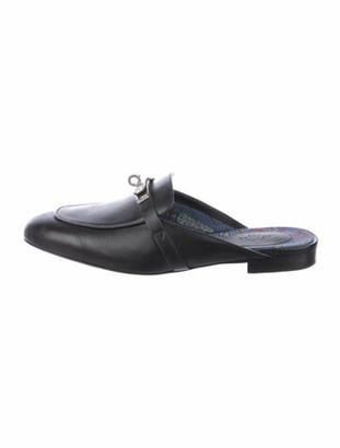 Hermes Kelly Oz Leather Mules Black